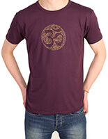 Men's Bamboo Jersey T-Shirt with Om Mantra in Eggplant